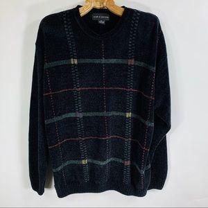 Vintage 90s Chenile Black Geometric Sweater Medium